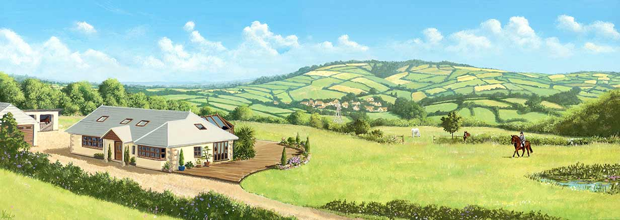 artist's impression of a smallholding plot of land in Devon