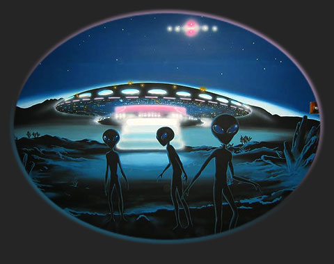 Aliens alien UFO UFOs Close Encounters Mural
