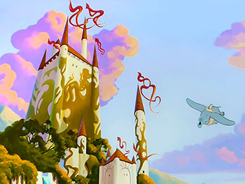 Disney mural with enchanted castle