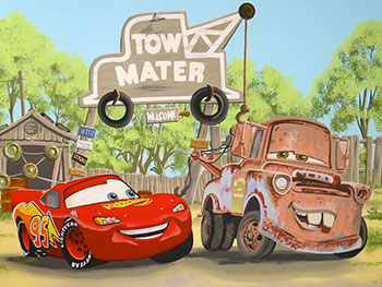 Cars mural featuring Lightning McQueen and Mater