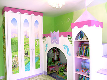 Princess castle mural on fitted wardrobe with bed and a kingdom through arched windows