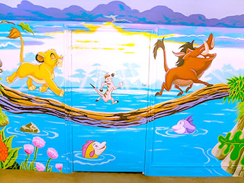 disney lion king mural in nursery