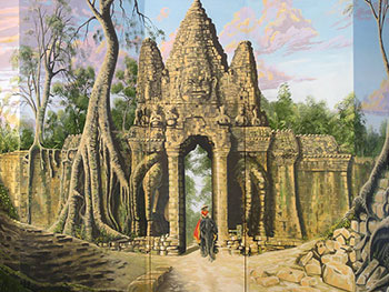 Angkor Wat ruined temple mural around swimming pool