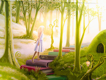 woodland mural in school library