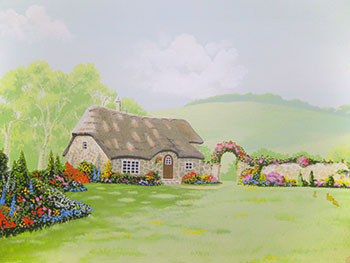 beatrix potter style mural with thatched cottage